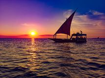 Dhow on a sunset cruise stock photo
