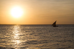 Dhow at sunset Royalty Free Stock Photography
