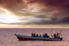 Dhow traditioneel vissersvaartuig Stock Fotografie