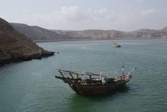 Dhow on the waters of Oman. This dhow was sailing on the waters of Sur, Oman Stock Image