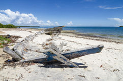 Dhow wreck on the beach Royalty Free Stock Image