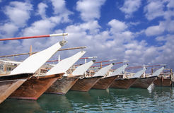 Dhows in Bahrain getting ready for fishing Royalty Free Stock Photography