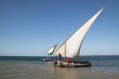 Dhows bij de kust van Barra dichtbij Tofo Stock Foto