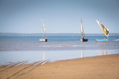 Dhows at the coast of Barra near Tofo Royalty Free Stock Images