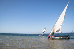 Dhows at the coast of Barra near Tofo Royalty Free Stock Image