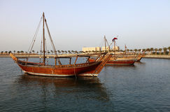Dhows in doha bay Stock Photography