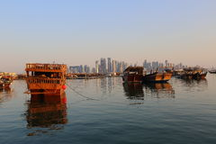 Dhows in Doha Bay Royalty Free Stock Photography