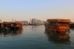 Dhows in Doha Bay Stock Photos