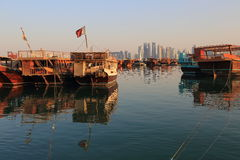Dhows in Doha Bay Royalty Free Stock Image