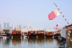 Dhows in Doha harbour Royalty Free Stock Image