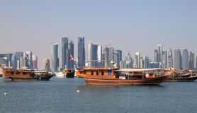 Dhows in Doha, Qatar royalty free stock photography