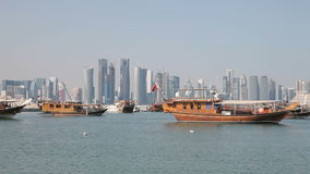 Dhows and Doha skyline, Qatar Royalty Free Stock Image