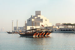 Dhows and museum Royalty Free Stock Photos