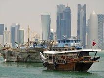 Dhows in Qatar lizenzfreie stockbilder