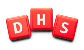 DHS Plastic Tiles. DHS Spelled with Wood Tiles Isolated on a White Background Stock Photography