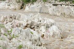 Rock exposure in Narmada river near Dhuandhar fall, Jabalpur Royalty Free Stock Image