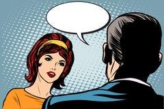 Diálogo da menina e do homem ilustração do vetor