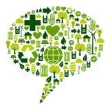 Diálogo de la burbuja con los iconos ambientales Imagenes de archivo