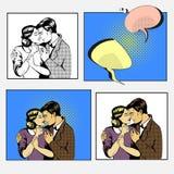 Diálogo do amor dos pares Huggins do homem e da mulher Uma comunicação, emoções, psicologia da família Estilo cômico do pop art r ilustração stock