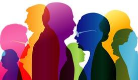 Diálogo entre pessoas adultas Grupo de pessoas adultas da fala Conversação na idade madura Perfil colorido da silhueta Exposur mú ilustração stock