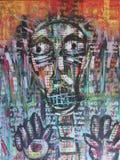 Diálogo prendido, uma comunicação doente, pintura abstrata fotos de stock