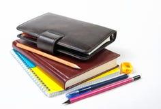 Diário, caderno, pena, lápis e apontador Fotografia de Stock