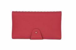 Diário de couro vermelho do negócio isolado no fundo branco Imagem de Stock