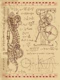 Diário de Frankentsein com mecanismo do steampunk na espinha dorsal humana da anatomia ilustração stock