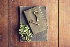 Diário e chaves em uma tabela de madeira Imagem de Stock Royalty Free