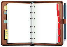 Diário encadernado da mesa do couro Fotos de Stock Royalty Free