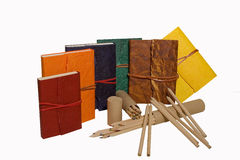 Diários coloridos com lápis Fotografia de Stock
