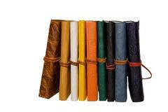Diários coloridos em uma fileira Fotografia de Stock