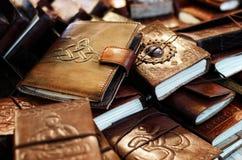 Diários e cadernos de couro Fotografia de Stock