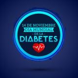 Diâmetro de mundial la Diabetes - o mundo diabetes dia espanhol do 14 de novembro text símbolo azul do círculo do diabetes do vet ilustração royalty free