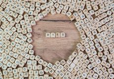 Diät, German text for diet, word in letters on cube dices on table.  stock photos