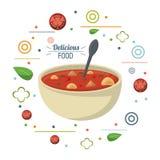 DIÄT-Löffelplakat der köstlichen Lebensmittelsuppe Ernährungs lizenzfreie abbildung