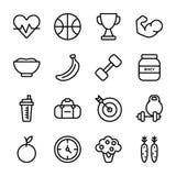 Diät-Plan, Sport ergänzen, Nahrungs-Ikonen-Satz vektor abbildung