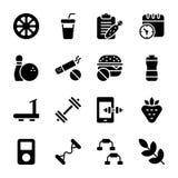 Diät-Plan, Sport ergänzen, Nahrungs-Ikonen zusammenrollen lizenzfreie abbildung