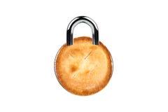 Diät-/Versuchung-Konzept mit Torte als Verriegelung Lizenzfreie Stockfotos