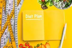 Diätbedienkonzepthintergrund Bunt von messendem Band auf v Stockbild