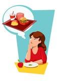 Diätessenversuchung Stockbild