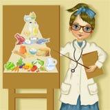 Diätetiker mit Ernährungspyramide Lizenzfreies Stockbild