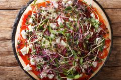 Di?tetische vegetarische Pizza mit Feta und frischer Mischungsmikrogr?nnahaufnahme horizontale Draufsicht lizenzfreie stockfotografie