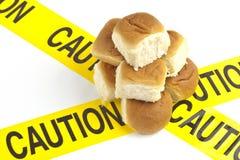 Diätetische Warnung oder Gluten-/Weizenallergiewarnung stockbild