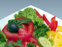 Diätetischer Salat mit Olive in der weißen Platte Lizenzfreie Stockfotos