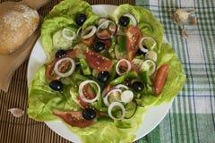 Diätetischer Salat mit Pfeffern, Tomaten, Gurke, Oliven und Zwiebeln Lizenzfreies Stockbild