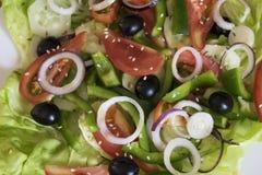 Diätetischer Salat mit Pfeffern, Tomaten und Oliven Lizenzfreie Stockfotografie