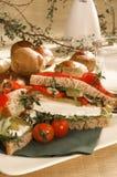 Diätfetakäse-Sandwichsandwich Lizenzfreie Stockbilder