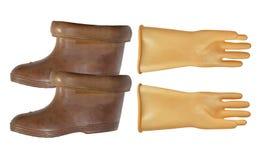 Diëlektrische handschoenen en laarzen royalty-vrije stock foto's