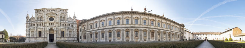 Di Павия Certosa Изображение церков внутри большого сада стоковое фото rf